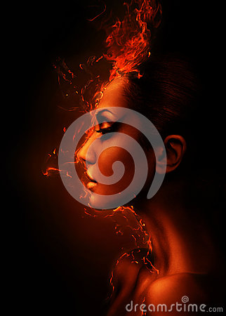 Free The Burning Woman Head Royalty Free Stock Images - 36860919