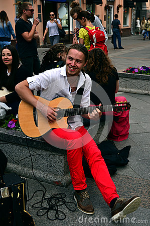 Free The  Busker (street Musician) With Guitar Stock Photo - 64730750