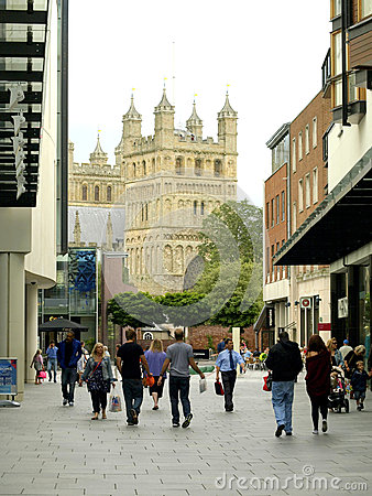 Free The Cathedral From Princesshay, Exeter. Royalty Free Stock Photography - 37077947