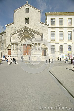 Free The Church Of St. Trophime (building W/brown Doors), Arles, France Stock Image - 52314821