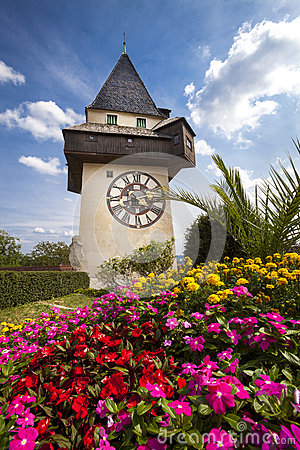 Free The Clock Tower (the Uhrturm) And Flower Garden. Graz, Austria Royalty Free Stock Photography - 58158887