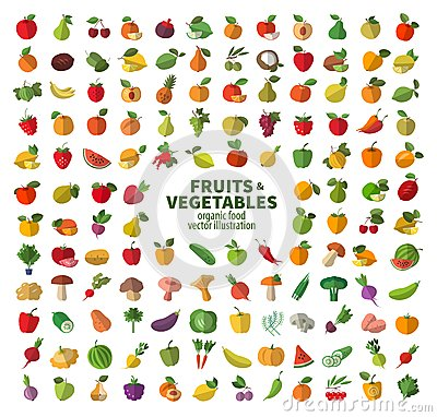 Free The Collection Of Icons On Fruits And Vegetables. Stock Photos - 48368673