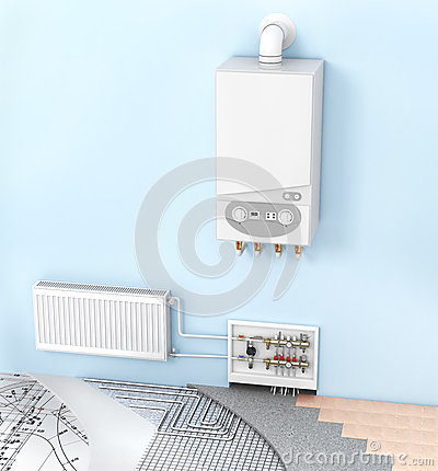 Free The Concept Of Heating With Radiators And A Boiler . Royalty Free Stock Image - 59869486
