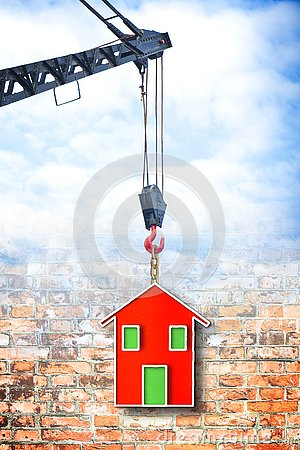 Free The Construction Of A Prefabricated House - Concept Image Stock Image - 144685181