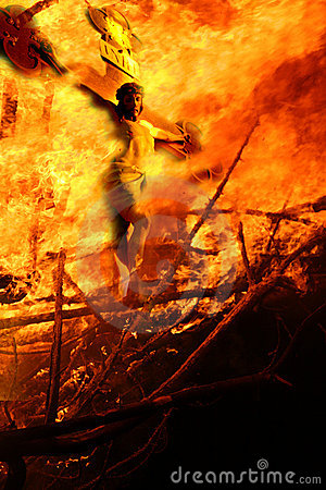 Free The Crucifixion On Fire. Royalty Free Stock Photos - 9544118