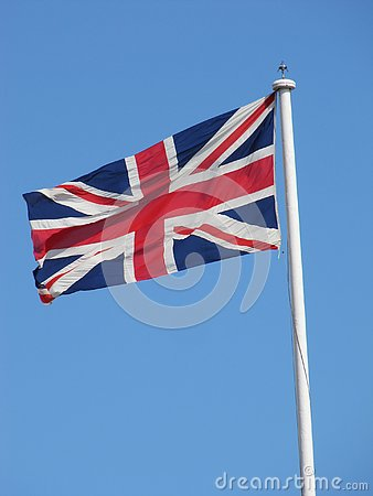 Free The English Flag Flies Proudly In The Wind Royalty Free Stock Images - 125369379