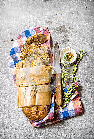 Free The Fabric On Ciabatta With Rosemary And A Knife. Royalty Free Stock Photo - 64811785