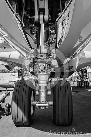 Free The Front Landing Gear Of The Aircraft - Airbus A380. Royalty Free Stock Images - 93433609