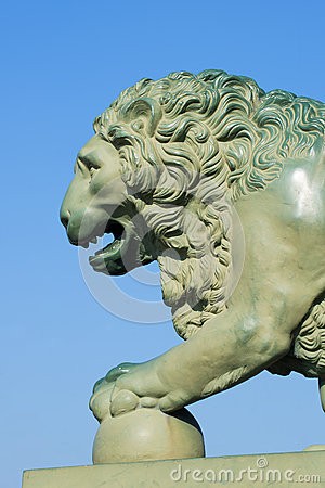 Free The Front Part Of The Lion Sculpture Near The Palace Bridge Closeup. Saint Petersburg Royalty Free Stock Image - 71408466