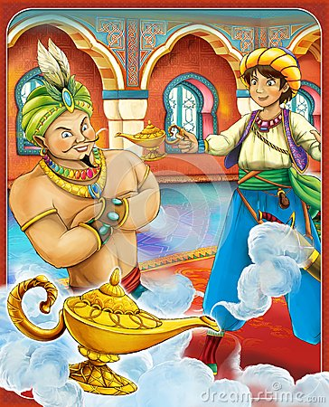 Free The Gin- Castles - Knights And Fairies - Manga Style - Illustration For The Children Stock Photo - 31885130