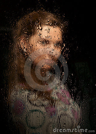 Free The Girl Behind Glass Royalty Free Stock Photos - 11914408