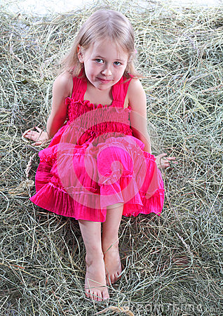 Free The Girl Has A Rest On A Haystack Royalty Free Stock Photos - 25402598
