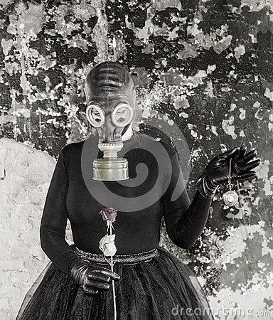 Free The Girl In A Gas Mask. The Threat Of Ecology. Royalty Free Stock Images - 92472019