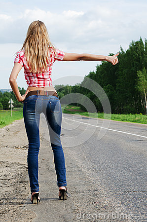 Free The Girl In Jeans Stops The Car On Road Stock Image - 25186921