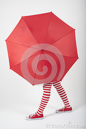 Free The Girl Standing Behind A Large Red Umbrella Royalty Free Stock Photos - 28447598