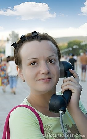Free The Girl With A Telephone Tube Royalty Free Stock Photography - 2835867