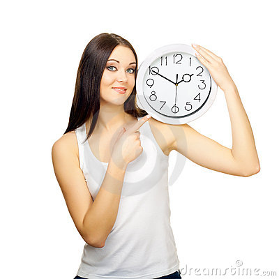 Free The Girl With Clock On A Shoulder Stock Photos - 23236413