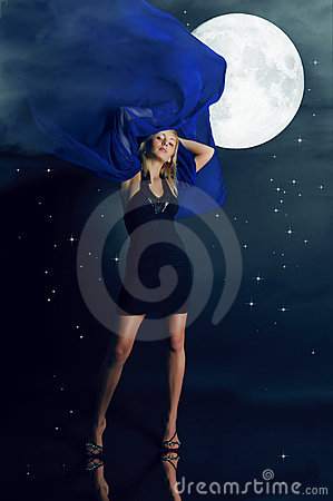 Free The Glamour Girl And The Moon Stock Photography - 11782972