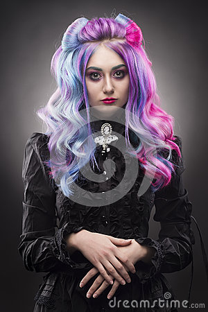 Free The Gothic Multi-colored Hair Girl On A Gray Background Stock Photo - 93746770