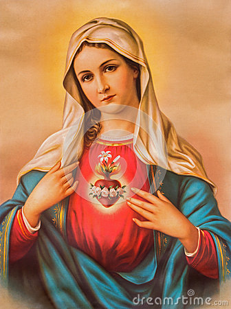 Free The Heart Of Virgin Mary. Typical Catholic Image Printed In Germany From The End Of 19. Cent. Originally By Unknown Painter. Stock Images - 49469374