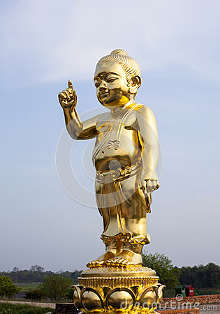 Free The Important Baby Buddha Gold Statue. Stock Photo - 55125270