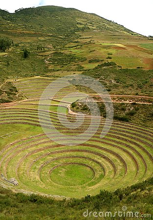 Free The Incan Ruins Of Moray, Terraced Rings On The High Plateau Of The Village Of Maras Archaeological Site, Cusco Region, Peru Stock Photos - 128535453