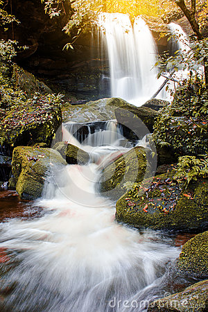 Free The Landscape Photo Beautiful Waterfall In Autumn Forest Thailan Stock Photo - 77168950