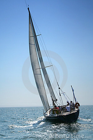 Free The Large, Beautiful Yacht In The Light-blue Sea. Royalty Free Stock Photography - 990667