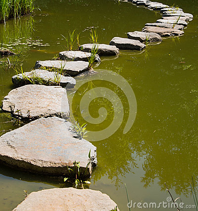 Free The Last Way In The Life: Stones In The Water For Concepts. Royalty Free Stock Photography - 40846587