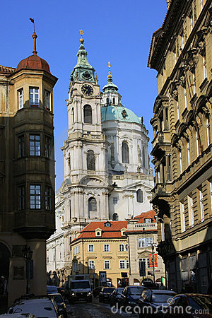 Free The Late Snow In Prague - St. Nicholas  Cathedral Royalty Free Stock Photo - 13446625