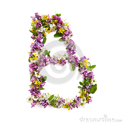 Free The Letter «B» Made Of Various Natural Small Flowers. Royalty Free Stock Photography - 94021657
