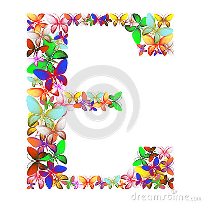 Free The Letter E Made Up Of Lots Of Butterflies Of Different Colors Stock Photography - 92664522