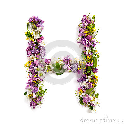 Free The Letter «H» Made Of Various Natural Small Flowers. Stock Photo - 94021650