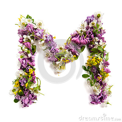 Free The Letter «M» Made Of Various Natural Small Flowers. Stock Photography - 94021622