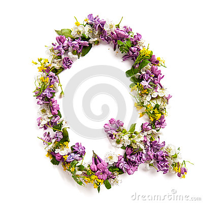 Free The Letter «Q» Made Of Various Natural Small Flowers. Stock Images - 94021634