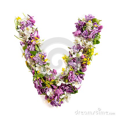 Free The Letter «V» Made Of Various Natural Small Flowers. Royalty Free Stock Image - 94021666