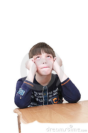 Free The Little Boy Thinks Stock Photos - 13840623