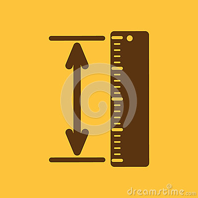 Free The Measuring Height And Length Icon. Ruler, Straightedge, Scale Symbol. Flat Royalty Free Stock Photography - 63309587
