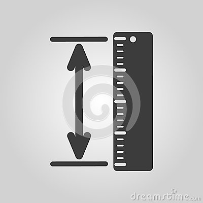 Free The Measuring Height And Length Icon. Ruler, Straightedge, Scale Symbol. Flat Royalty Free Stock Images - 79865519