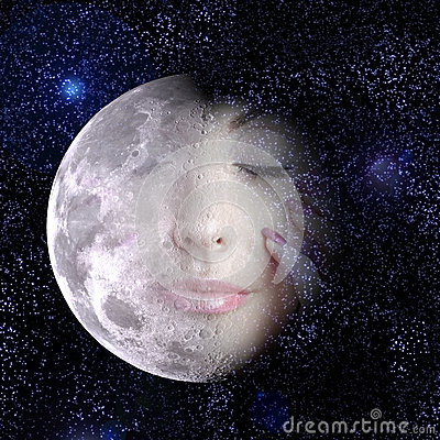 Free The Moon Turns Into A Face Of Woman In Night Sky. Royalty Free Stock Image - 34727646