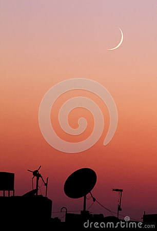 Free The New Moon Or Crescent During Sunset In Ramadan Month In Egypt In Africa Stock Images - 60274434