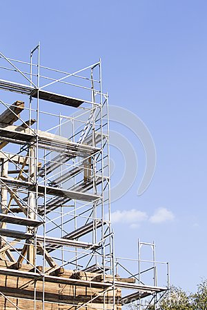 Free The Old Bell Tower. Restoration Of The Old Bell Tower. Scaffolding Royalty Free Stock Images - 110625029