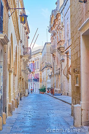 Free The Old Street In Mdina, Malta Royalty Free Stock Images - 133723119