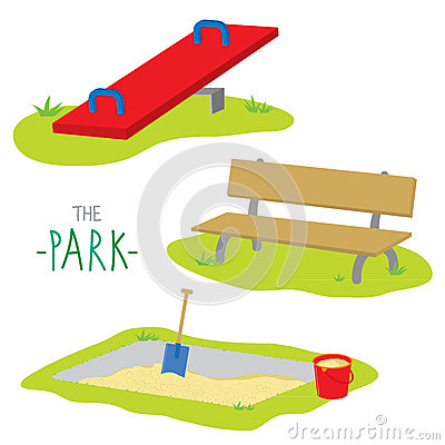 Free The Park Bench Sandpit Seesaw Activity Kid Relax Play Cartoon Vector Stock Photos - 64557003