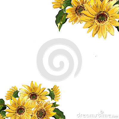 Free The Pattern Of Blooming Yellow Flowers Sunflower Painted In Watercolor Stock Images - 58201314