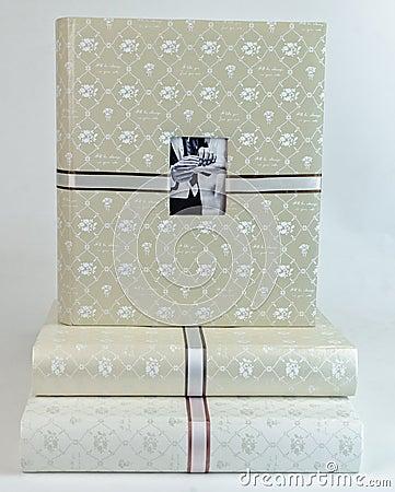 Free The Pile Of Beautiful Photo Albums On White Backround Stock Photography - 65674282
