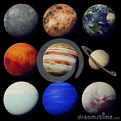 Free The Planets Of The Solar System Isolated On Black Background Royalty Free Stock Image - 130708376