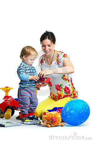 Free The Portrait Of A Little Boy And His Mother Stock Images - 14720404