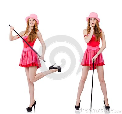 Free The Pretty Young Wizard In Mini Pink Dress Isolated On White Royalty Free Stock Photo - 104906775