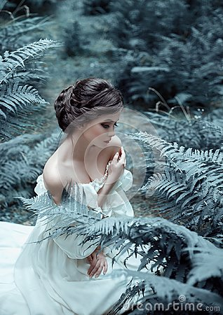 Free The Princess Sits On The Ground In The Forest, Among The Fern And Moss. An Unusual Face. On The Lady Is A White Vintage Stock Image - 112139771